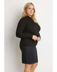 Forever 21   Black Plus Size Ribbed Mock Neck Sweater   Lyst