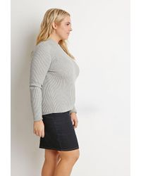 Forever 21 - Gray Plus Size Ribbed Mock Neck Sweater - Lyst