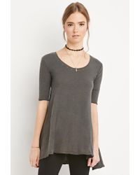 Forever 21 | Gray Raw-cut Longline Trapeze Tee | Lyst