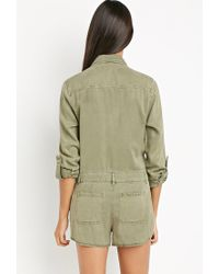 Forever 21 - Green Life In Progress Hidden-placket Romper - Lyst