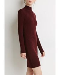Forever 21 - Purple Contemporary Ribbed Knit Sweater Dress - Lyst