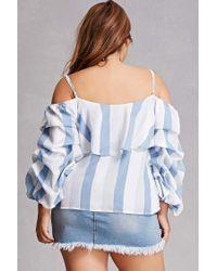 Forever 21 - Blue Plus Size Open-shoulder Top - Lyst