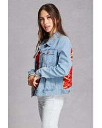 Forever 21 - Red Repurposed Satin Patch Jacket - Lyst
