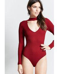 Forever 21 - Red Contemporary Choker Bodysuit - Lyst