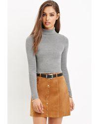 Forever 21 - Orange Button-front Corduroy Skirt - Lyst