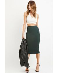 Forever 21 - Green Contemporary Ribbed Knit Pencil Skirt - Lyst