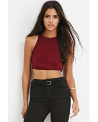 Forever 21 | Purple Crisscross-back Cropped Cami | Lyst