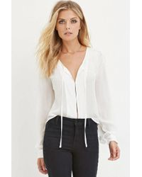 Forever 21 - White Contemporary Self-tie Chiffon Blouse - Lyst