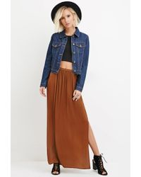 Forever 21 | Brown Side-slit Satin Maxi Skirt | Lyst