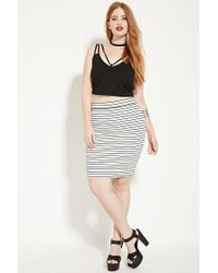196993990f51 Forever 21 Plus Size Striped Pencil Skirt in Natural - Lyst