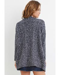 Forever 21 - Blue Cable Knit Cardigan - Lyst