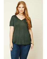 Forever 21 | Green Plus Size Classic V-neck Tee | Lyst