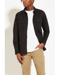 Forever 21 - Black Cotton Flap-pocket Shirt for Men - Lyst