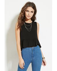 Forever 21   Black Button-back Peplum Top   Lyst