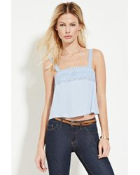 Forever 21 | Blue Lace-trimmed Top | Lyst