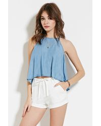Forever 21 | White Cuffed Linen-blend Shorts | Lyst