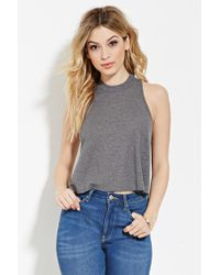Forever 21   Gray Micro-ribbed Knit Tank   Lyst