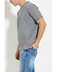 Forever 21 - Gray Marled Raw-cut Tee for Men - Lyst