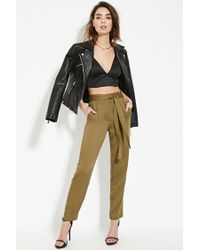 Forever 21 Contemporary High-waist Pants in Green | Lyst