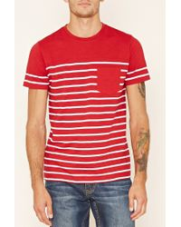 Forever 21 | Red Striped Pocket Tee for Men | Lyst