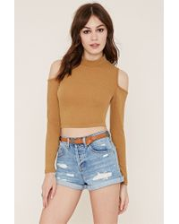 Forever 21 | Blue Cuffed Distressed Denim Shorts | Lyst