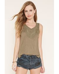 Forever 21 | Natural Crocheted Slub Knit Top | Lyst