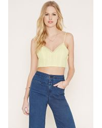 Forever 21 | Yellow Crochet-trim Cropped Cami | Lyst