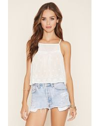 Forever 21 | White Embroidered Semi-sheer Cami | Lyst