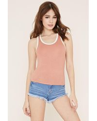 Forever 21 | Natural Contrast-trimmed Tank | Lyst