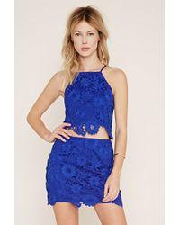 Forever 21 | Blue Floral Crochet Skirt | Lyst