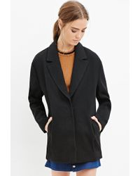 Forever 21 - Black Textured Boxy Coat - Lyst