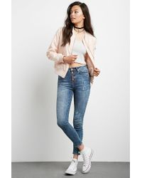 Forever 21 - Blue High-rise Exposed Button Skinny Jeans - Lyst