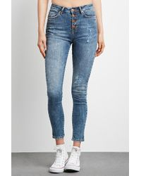 FOREVER21 - Blue Buttoned High-rise Skinny Jeans - Lyst