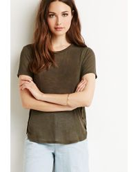 Forever 21 - Green Contemporary Heathered Dolphin Hem Tee - Lyst