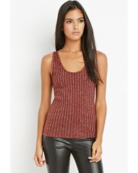 Forever 21 - Purple Contemporary Metallic Ribbed Knit Top - Lyst