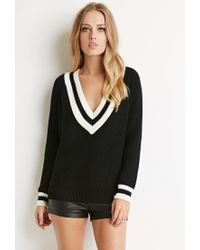 Forever 21 | Black Varsity Stripe V-neck Sweater | Lyst