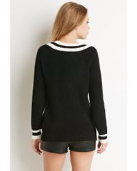Forever 21 - Black Varsity Stripe V-neck Sweater - Lyst