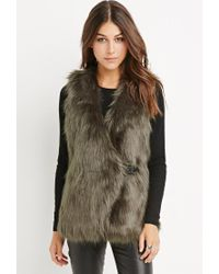 Forever 21 - Green Buckled Faux Fur Vest - Lyst