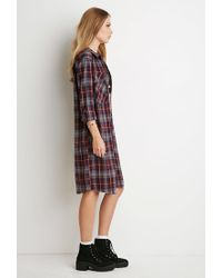 Forever 21 - Purple Tartan Plaid Midi Dress - Lyst