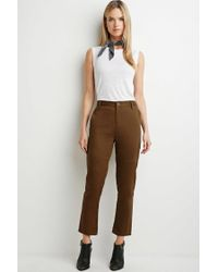 Forever 21 - Brown Contemporary Tonal Topstitch Utility Pants - Lyst