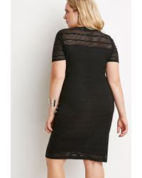 Forever 21 - Black Plus Size Shadow Stripe Dress - Lyst