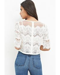 Forever 21 | Natural Organza Lace Boxy Top | Lyst