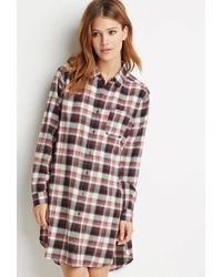 Forever 21 - Purple Contemporary High-slit Plaid Flannel Tunic - Lyst
