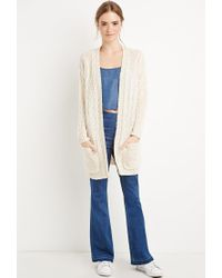 Forever 21 - Natural Cable Knit Cardigan - Lyst