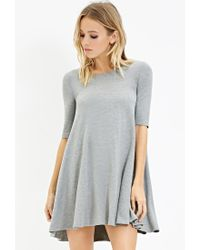 Forever 21 | Gray Stretch Knit Trapeze Dress | Lyst
