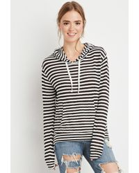 Forever 21 | Natural Striped Loose Knit Hoodie | Lyst