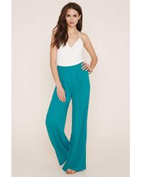 Forever 21 | Blue Pleated Wide-leg Trousers | Lyst