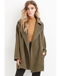 Forever 21 | Green Longline Wool-blend Coat | Lyst