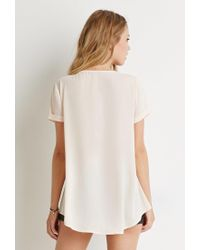 Forever 21 - White Cuffed-sleeve Top - Lyst