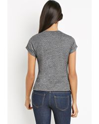Forever 21 - Black Contemporary Heathered Sweater Tee - Lyst